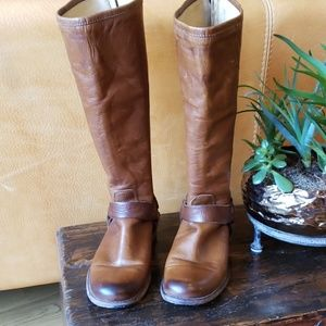 FRYE Phillip Harness Tall Brown Leather Boots